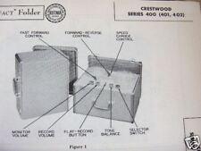 Crestwood 400, 401, & 402 Tape Recorder Photofact