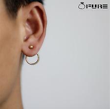 Trendy Women's Cute Gold Silver Colour Geometric Round Metal Ear Stud earrings