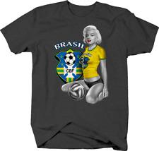 Marilyn Monroe Sexy Brazil Womens Soccer Player Sports T shirt for men