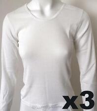 3 x Crew Neck Ladies Merino Wool Blend Thermal Top, Beige (Sz 10-22)