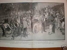 Road traffic problem Champs Elysees Paris 1908 print