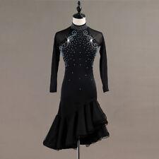 Latin Dance Dress Salsa Tango Cha cha Ballroom Rhinestone Competition Dress 386