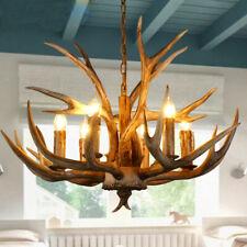 Loft Industrial Resin Deer Antler Horn with Candle Lamp Pendant Light Chandelier