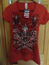 Ladies' Short Sleeve Top Rust Color w/Fleur de lis design w/tiny sequins - NEW