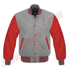 Original Leather American Varsity Letterman College Baseball Grey Wool Jacket