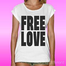 "WOMEN'S T-SHIRT "" FREE LOVE LOVE LIBERO "" ROAD TO HAPPINESS GIFT IDEA"