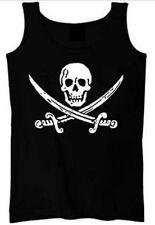 Women's Jack Rackham Jolly Roger Pirate Skull Sword Tank Top Shirt S-2XL Black