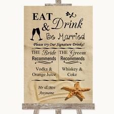 Wedding Sign Poster Print Sandy Beach Signature Favourite Drinks