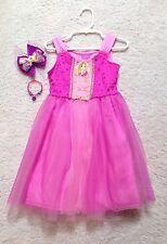 New Disney Princess Rapunzel Purple/Pink Girls Dress(5,6,6x) Bow/Bracelet/Save