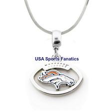 NFL Denver Broncos Football Logo Pendant Necklace On A 925 Snake Chain 5 sizes