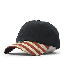 Vintage Washed Cotton United States Flag Visor Strapback Baseball Cap
