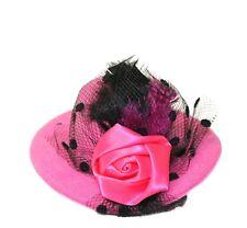 "Mini 4"" Sun Hat Hair Clip, Pin Accessory - Rose Feather & Veil Girls Headwear"