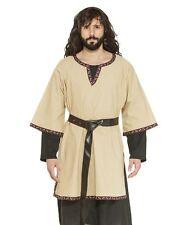 Medieval Tunic Men's Tan Cotton 3/4 Sleeve Historical Costume Garb
