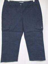 Brand New Dean St. Troper Women's Capris Cropped Stretch Navy Cargo Pants   D6