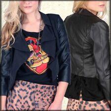 Iron Fist Creepy Rose Faux Leather Womens Cropped Waist Blazer Jacket Black NEW