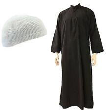 Men Omani Qtari Black/White Thobe Jubba Robe Coller Dishdasha Kufi Cap Hat