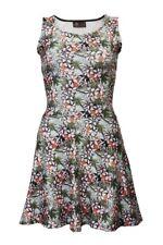 Tropical Vintage Exotic Floral Oriental Print Sleeveless Skater Dress