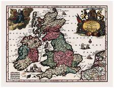 Old Vintage Map of England Scotland Ireland Seutter 1744