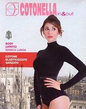 BODY LUPETTO DONNA MANICA LUNGA COTONE ELASTICO GARZATO COTONELLA  ART. 3510