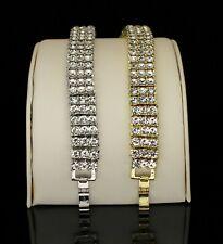 3 Row Icy Bracelet Men Women 14k Gold Silver Plated Hip Hop Fashion 7-10 inch
