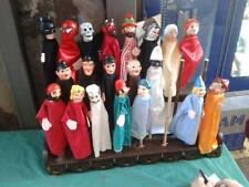 Marionette 35cm burattini teatrino testa terracotta mani legno abiti in tessuto