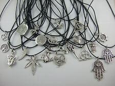 Black Wax Cord Tibetan Silver Charm Pendant Choker Necklace Wiccan Pagan