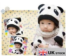 Infant Unisex Girl Boy Baby Hat Cap Beanie+Scarf Panda Cartoon 1-5Y UK SELLER