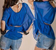 Sexy Miss Damen Chiffon Shirt Bluse TOP Flügel Arm Binde Gürtel 34/36/38 blau