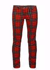 AO Hüftige Hose mit Karo Muster Skinny  Stretch Schwarz Rot XS S M L XL