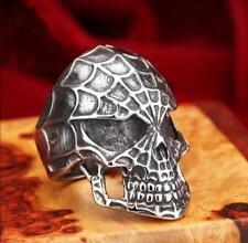 Anello acciaio inox 316L argento antico teschio ragnatela ragno punk rock goth