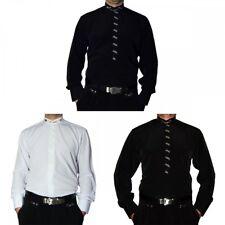 Designer Herren Stehkragen Hemd S1 Schwarz oder Weiß Stehkragenhemd mit Stick