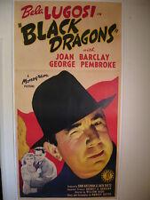 Black Dragons 1942 Bela Lugosi Original Stone Lithograph 3 Sheet Movie Poster