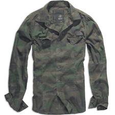 Brandit Hombres Casual Algodón Camisa Militar Caza Manga Larga Superior Woodland