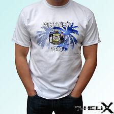 Wisconsin Palm flag - white t shirt top USA design - mens womens kids baby sizes