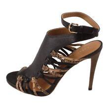 Coach A6143 Jody Veg  Python Print Leather High Hell Sandals (Black/Sand) 7M 8M