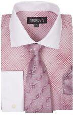 Men's Plaid / Checks French Cuff Dress Shirt w/ Tie and Hanky Set #624 Rose Pink