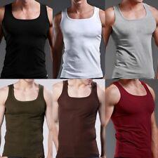 Fad Men's Plain T-Shirts Tank Top Muscle Cami Sleeveless Tees Shirt Cotton Tops