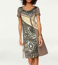 A034.330# NEU! Designer-Patchkleid, taupe-bunt, Linea Tesini