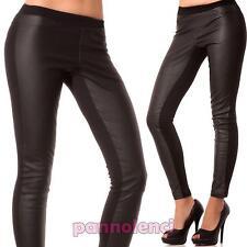 Pantaloni donna leggings neri effetto pelle elasticizzati aderenti skinny D125