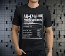 AK47 Russian Riffle Funny Nutrition Facts Men's Black T-Shirt Size S-3XL