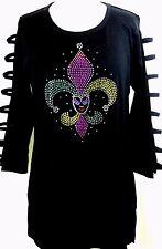 MEDIUM Hand Embellished Mardi Gras Colorful Jester Fleur De Lis Tunic Top Shirt