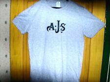 AJS motorcycle logo light grey T Shirt navy logo size large