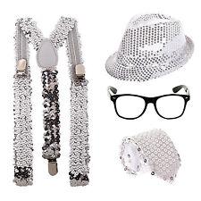 Sequin Sparkle Geek Fancy Dress Kit - Glasses + Hat + Tie + Braces - Silver