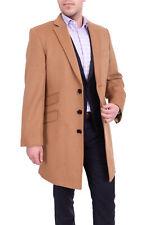Regular Fit Solid Camel Tan Wool Cashmere Blend 3/4 Topcoat With Ticket Pocket