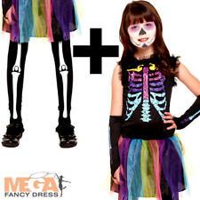 Multicolour Skeleton Girls Fancy Dress Rainbow Halloween Ghoul Child Kid Costume