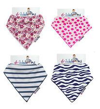 Designer Dribble Ons Bandana Bibs Spotty Pink, Zebra & Nautical Stripe & Ditsy