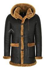 Men's Leather Sheepskin Duffle Coat Brown Ginger Fur Hooded 100% Shearling Ivar