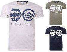 Mens T Shirt Crosshatch Crew Neck Cotton T-Shirt Short Sleeve Casual Top - New