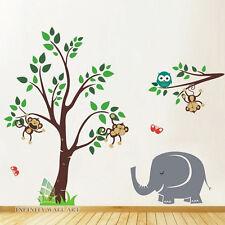 Monkey Tree Jungle Kids Nursery Wall Art Stickers Wall Decals Wall Graphic-P406.