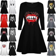 Women Costume Bloody Vampire Mouth Fang-Tastic Halloween Ladies Swing Mini Dress
